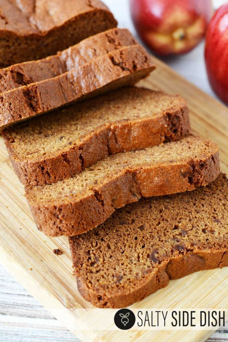 apple butter bread recipe with sliced pieces of bread laying on a cutting board