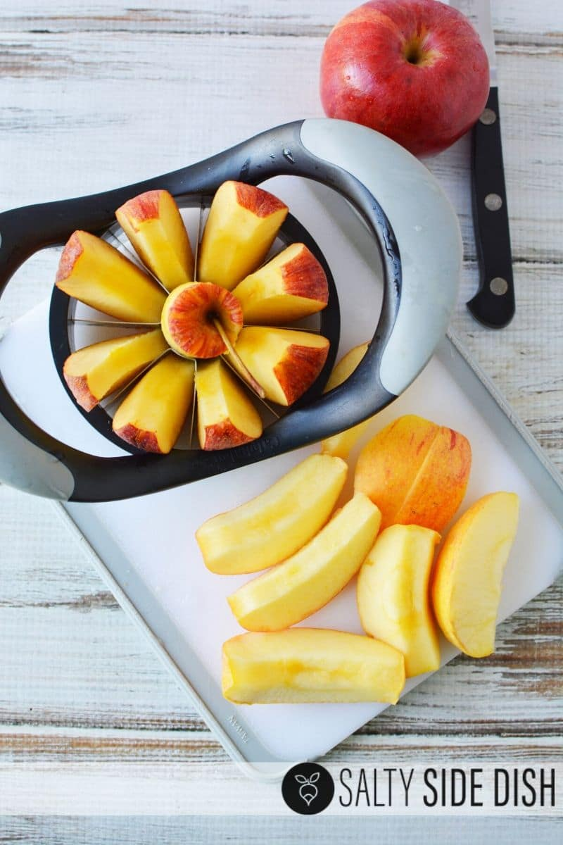 easy to cut apples with an apple corer and cutter, then remove skins