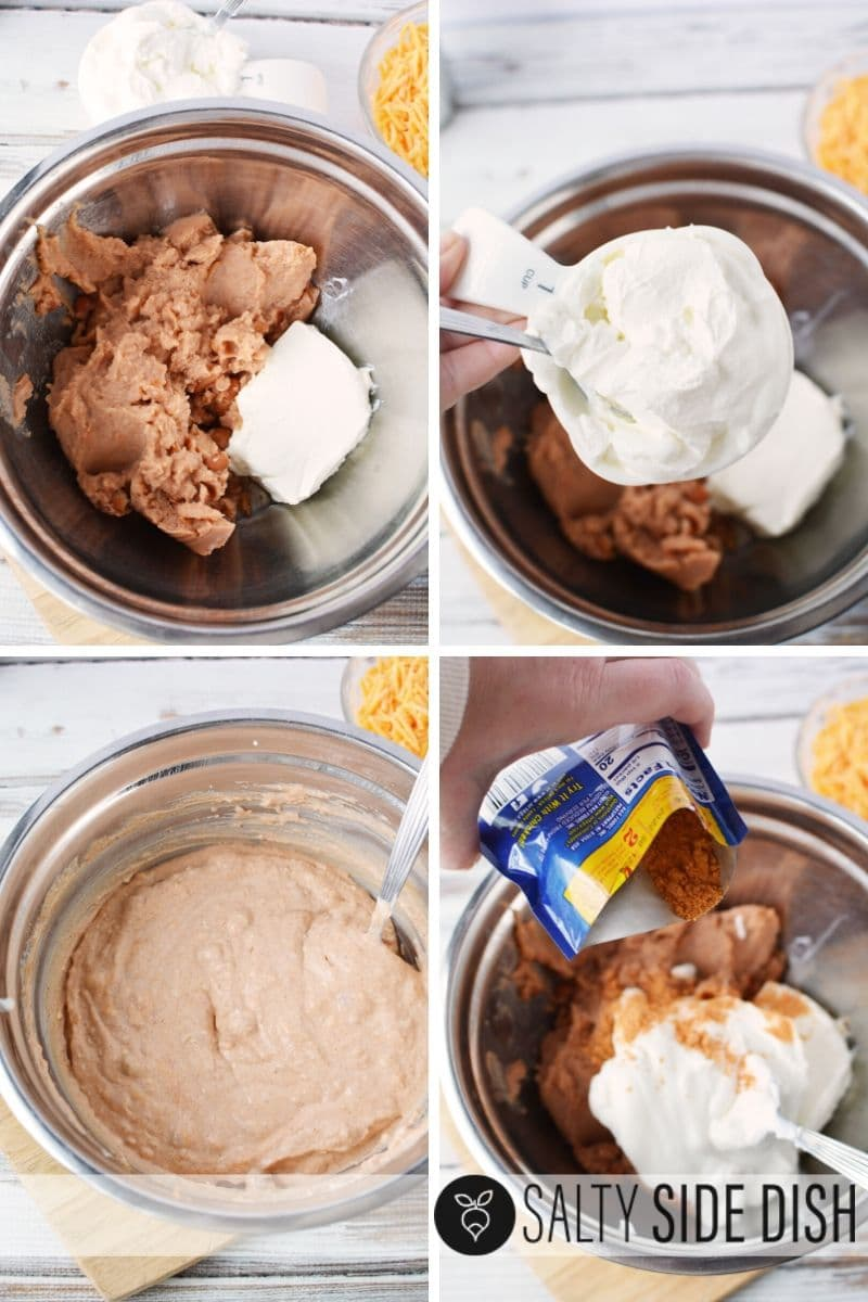 make easy bean dip by combining refried beans, cream cheese, sour cream, and seasonings