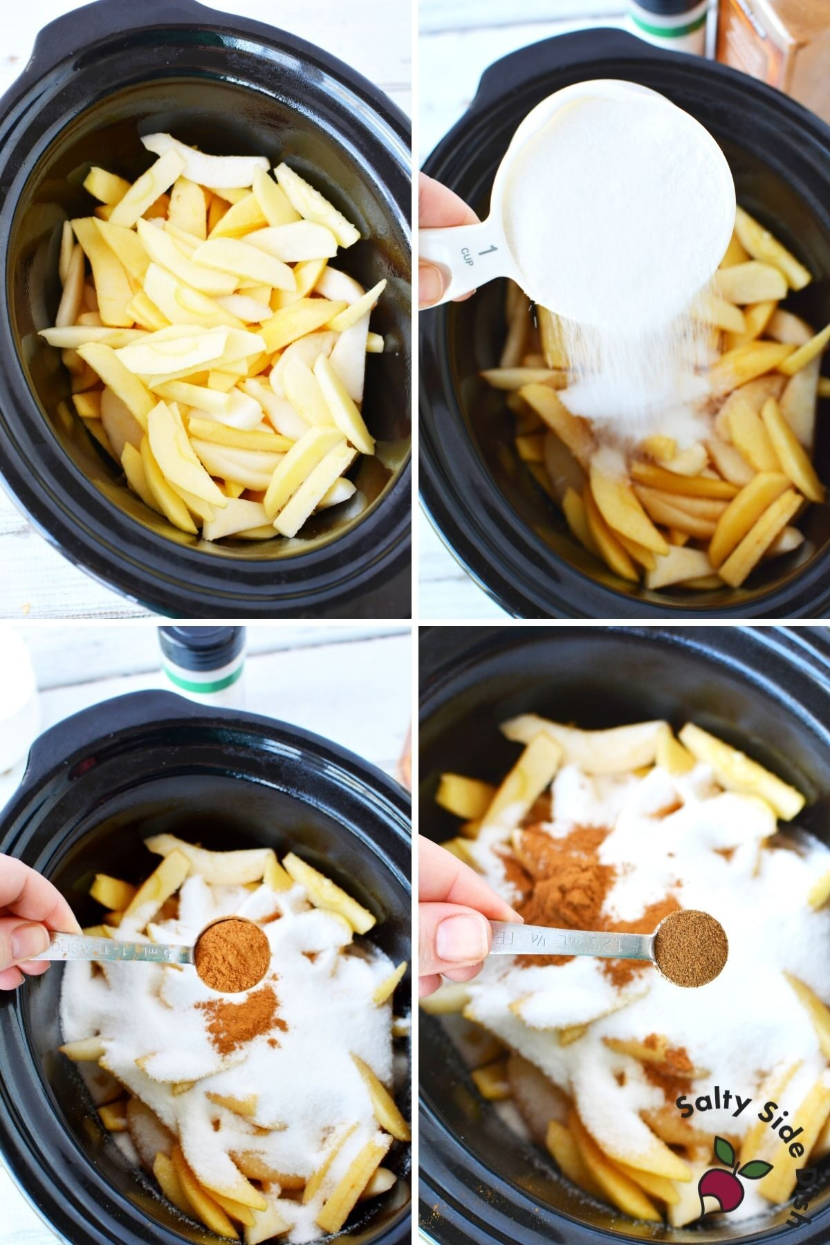 add sugar, cinnamon, and all spices with apples into a crock pot for cooking