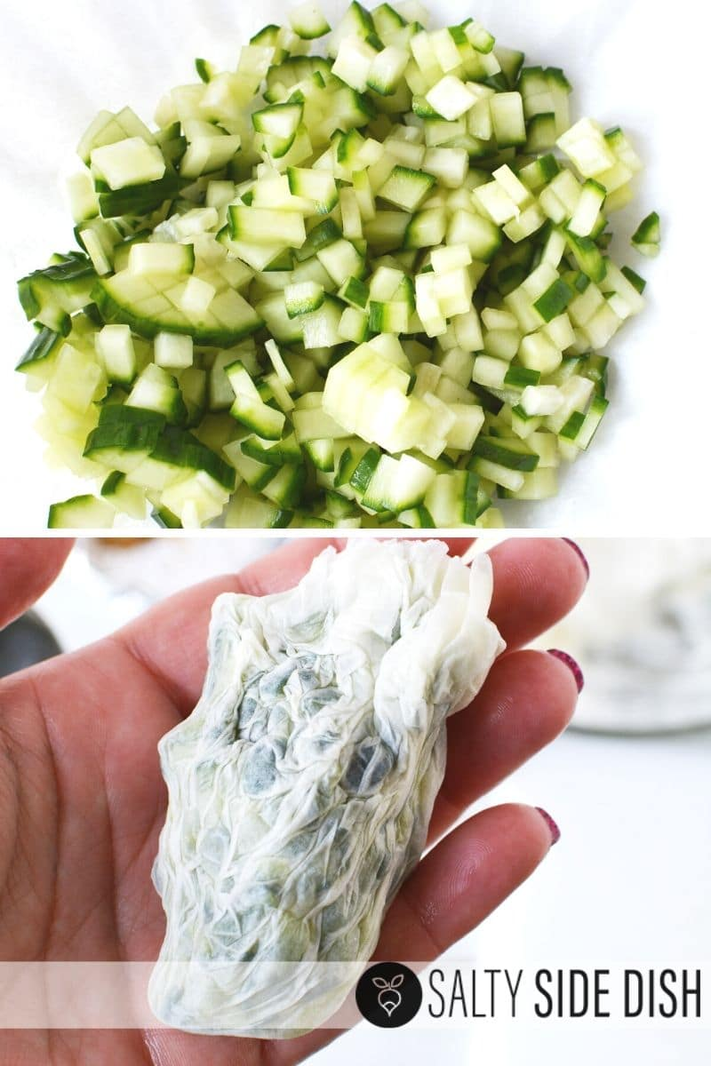 Dice down your cucumbers and strain in a cheese cloth or coffee filters