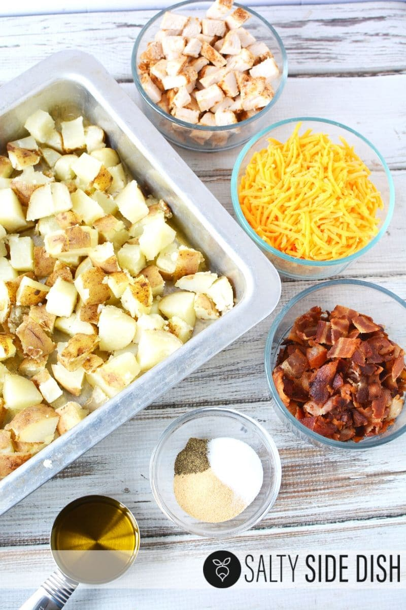 all prepped ingredients out and ready to make casserole