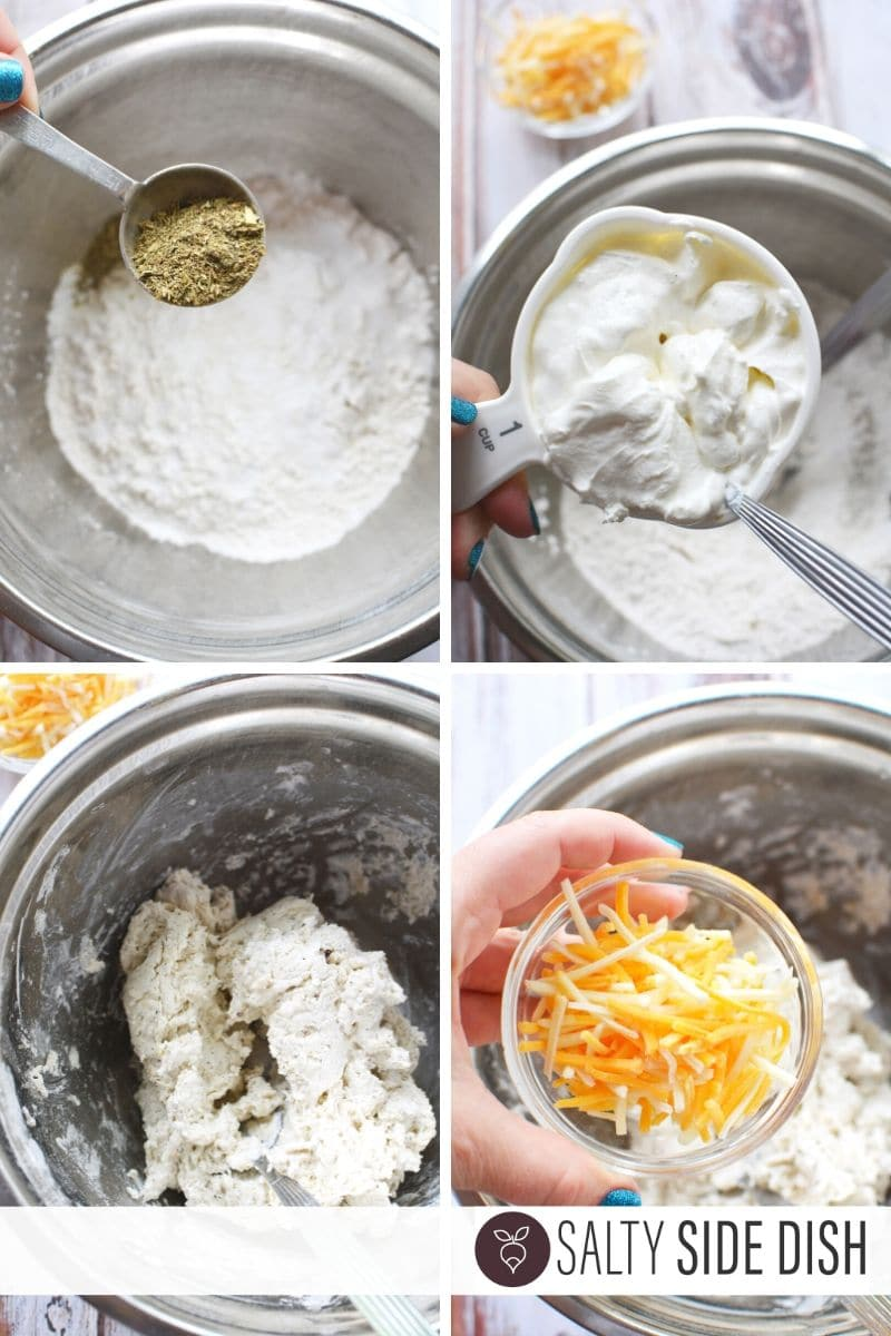 drop biscuit recipe with sour cream and flour, measured out in a collage