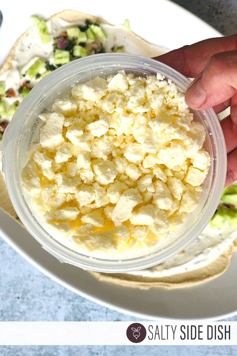 feta cheese in a container