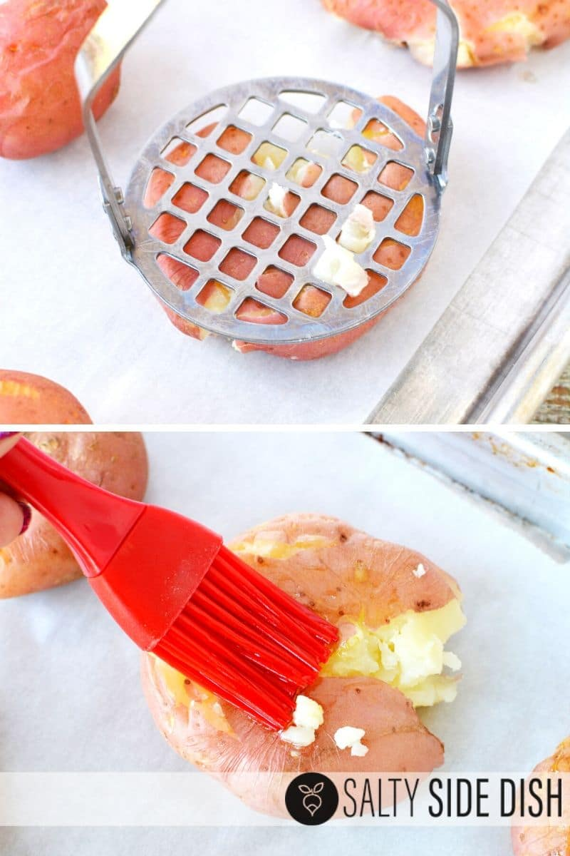 easily smash your potatoes with a potato masher and then using a basting brush, add on butter