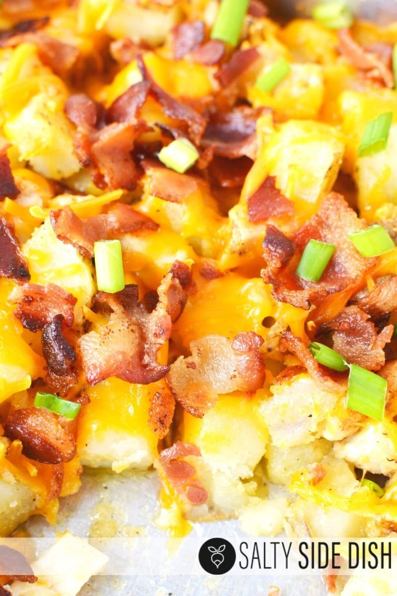 Ready to serve chicken and potato bake in a dish -Cheesy Chicken Potato Casserole