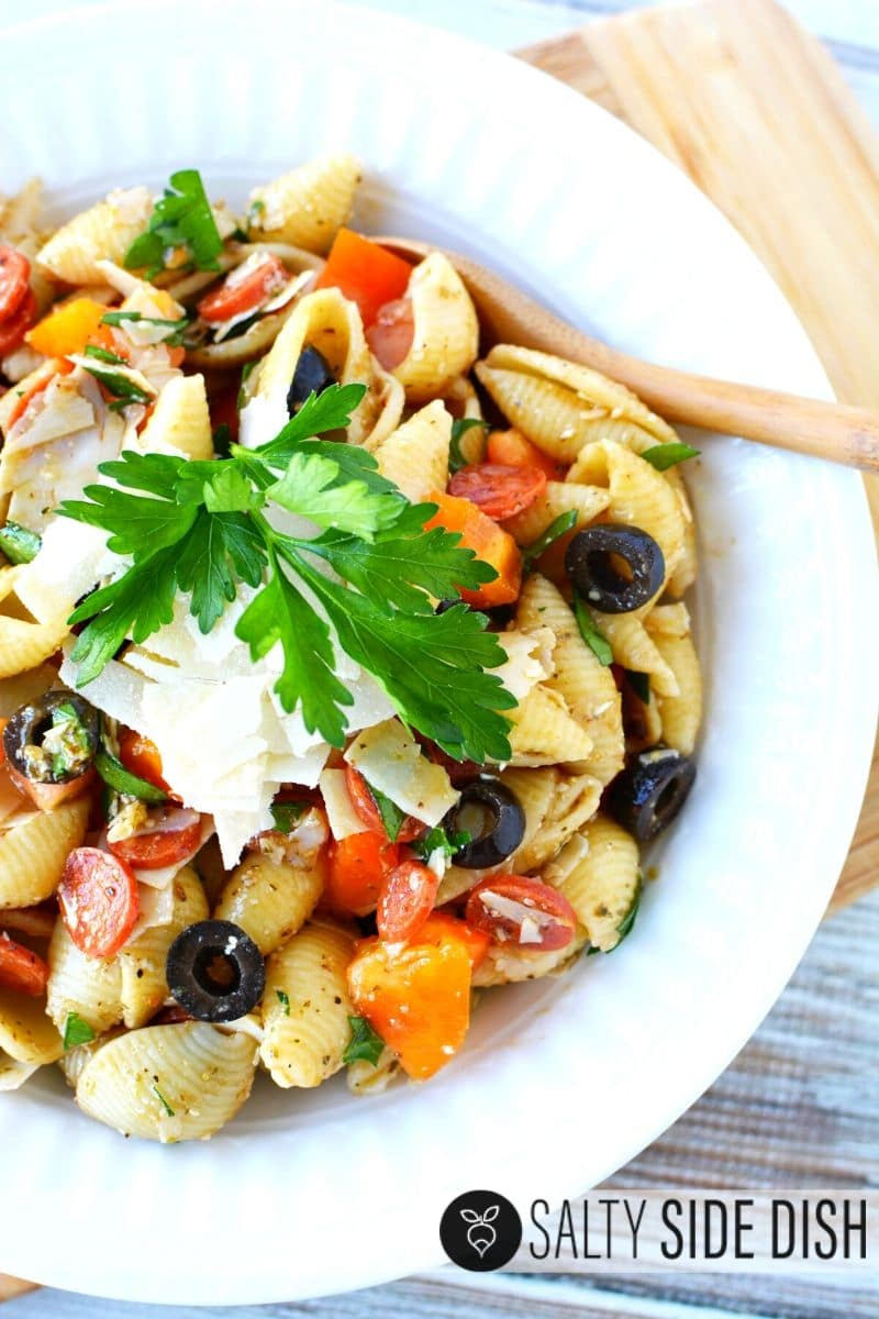 antipasto pasta salad recipe in a bowl ready to serve
