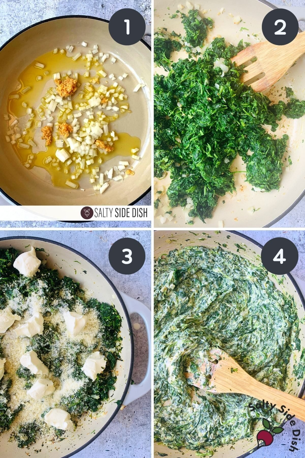 collage of 4 images progressing step by step how to make creamed spinach