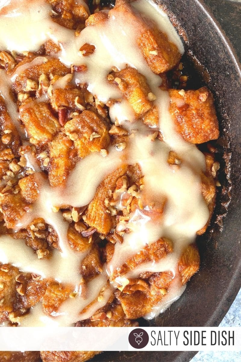 Cast Iron Monkey Bread with Cinnamon Rolls and pecan pieces