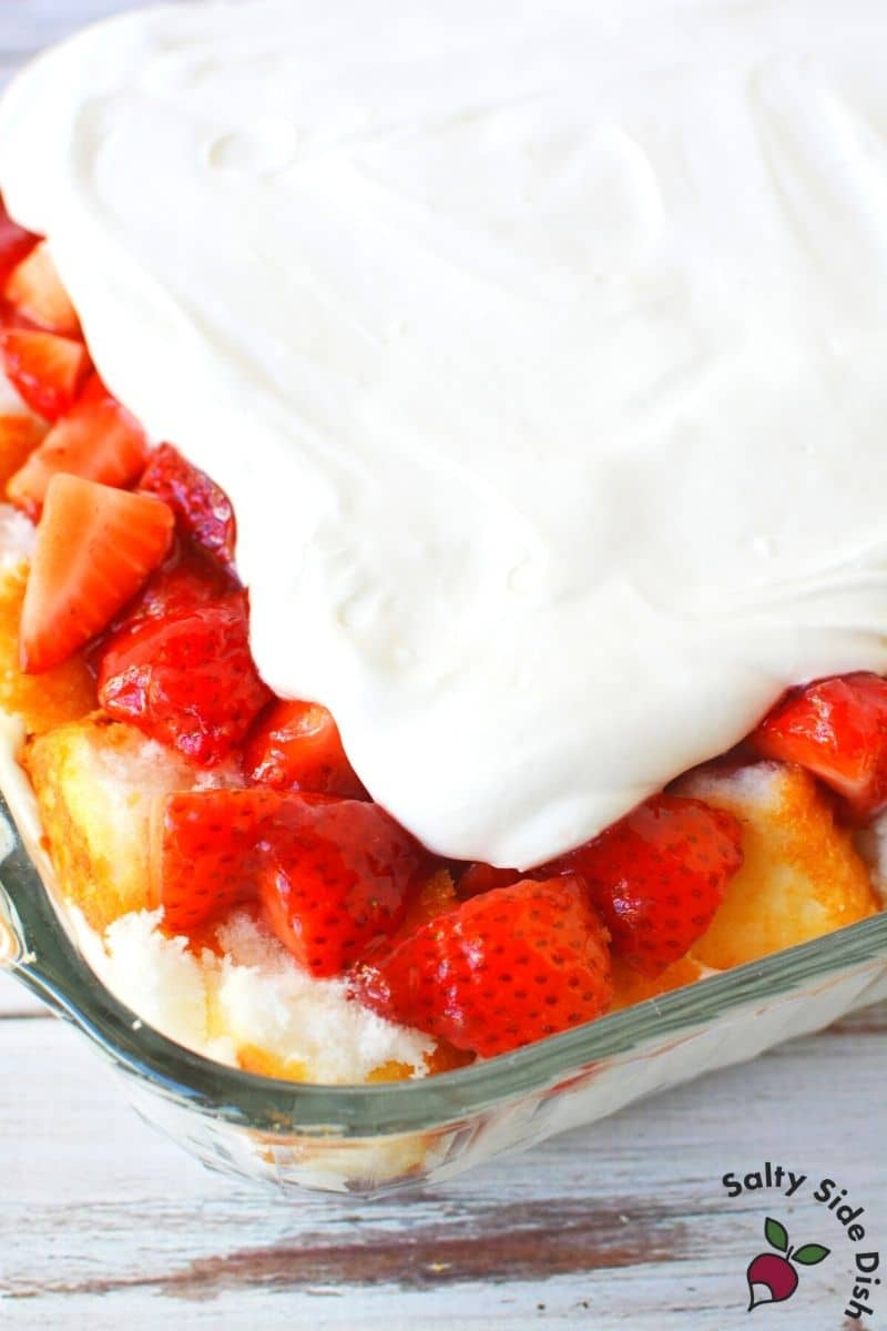 6 layers of strawberry short cake in a casserole dish