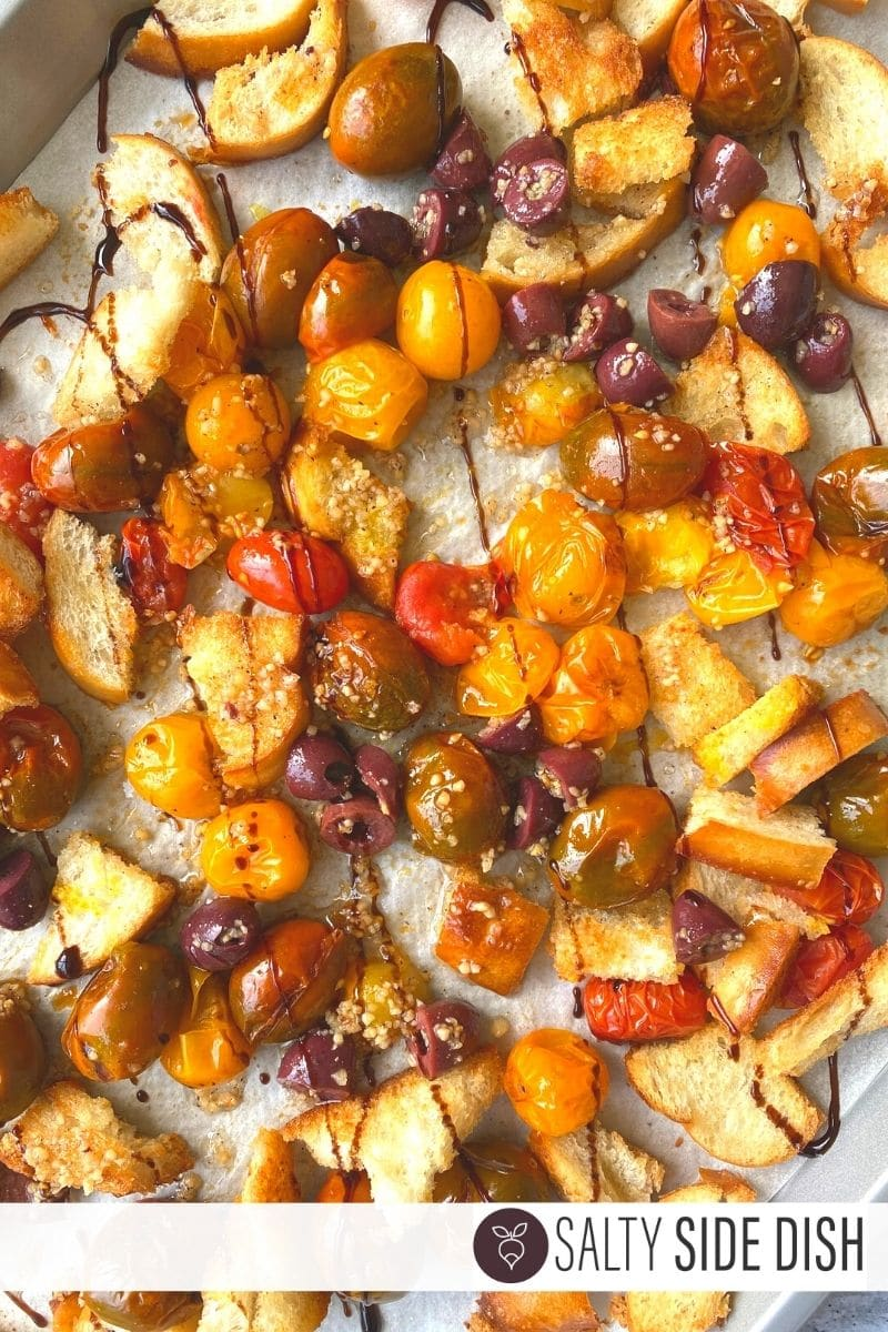 Roasted Cherry Tomatoes with Crunchy Garlic Croutons tossed with balsamic glaze