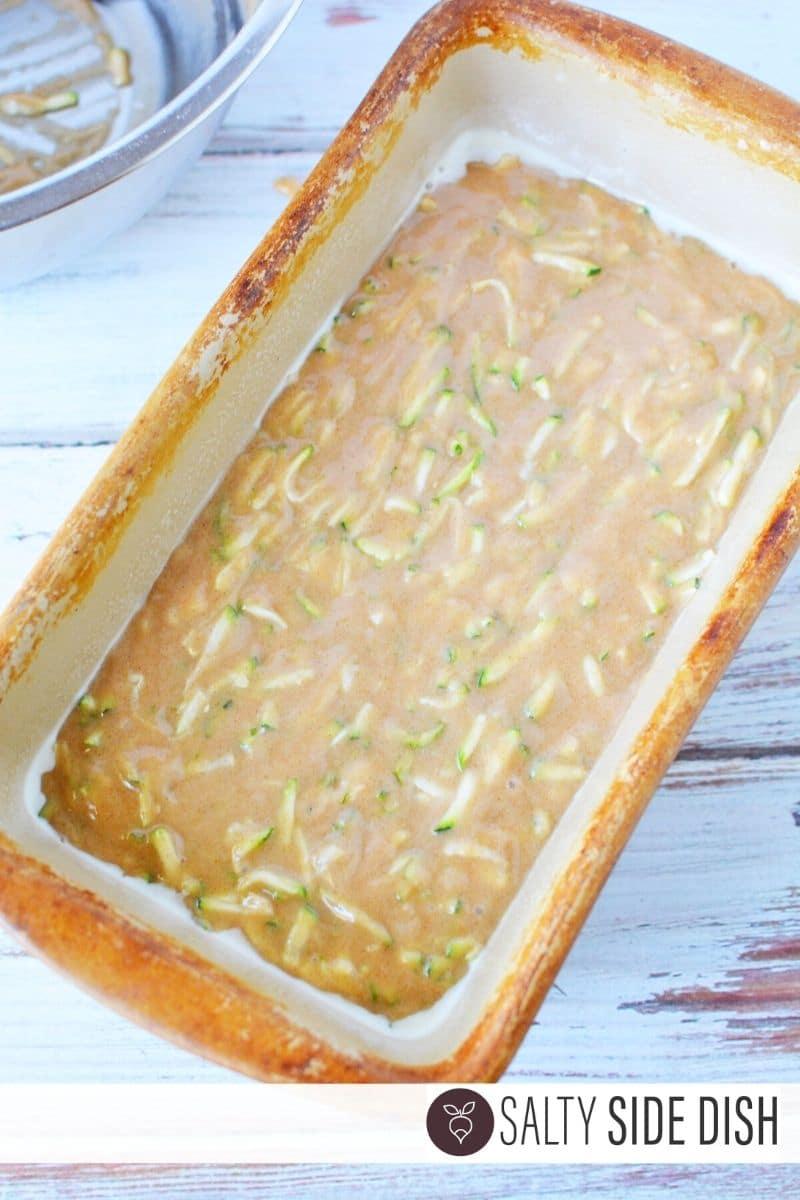 Pour batter into bread pan