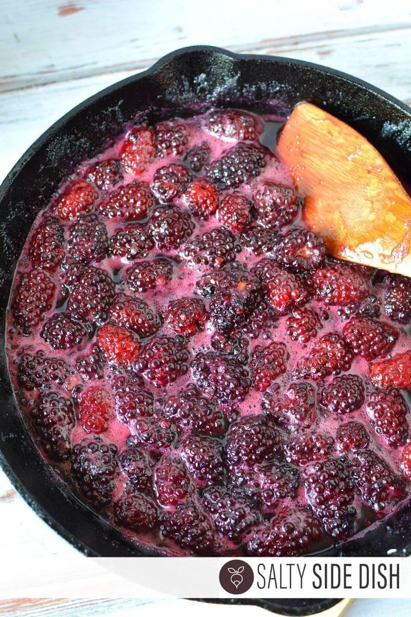 boil blackberries, sugar, and lemon juice in oven ready pan