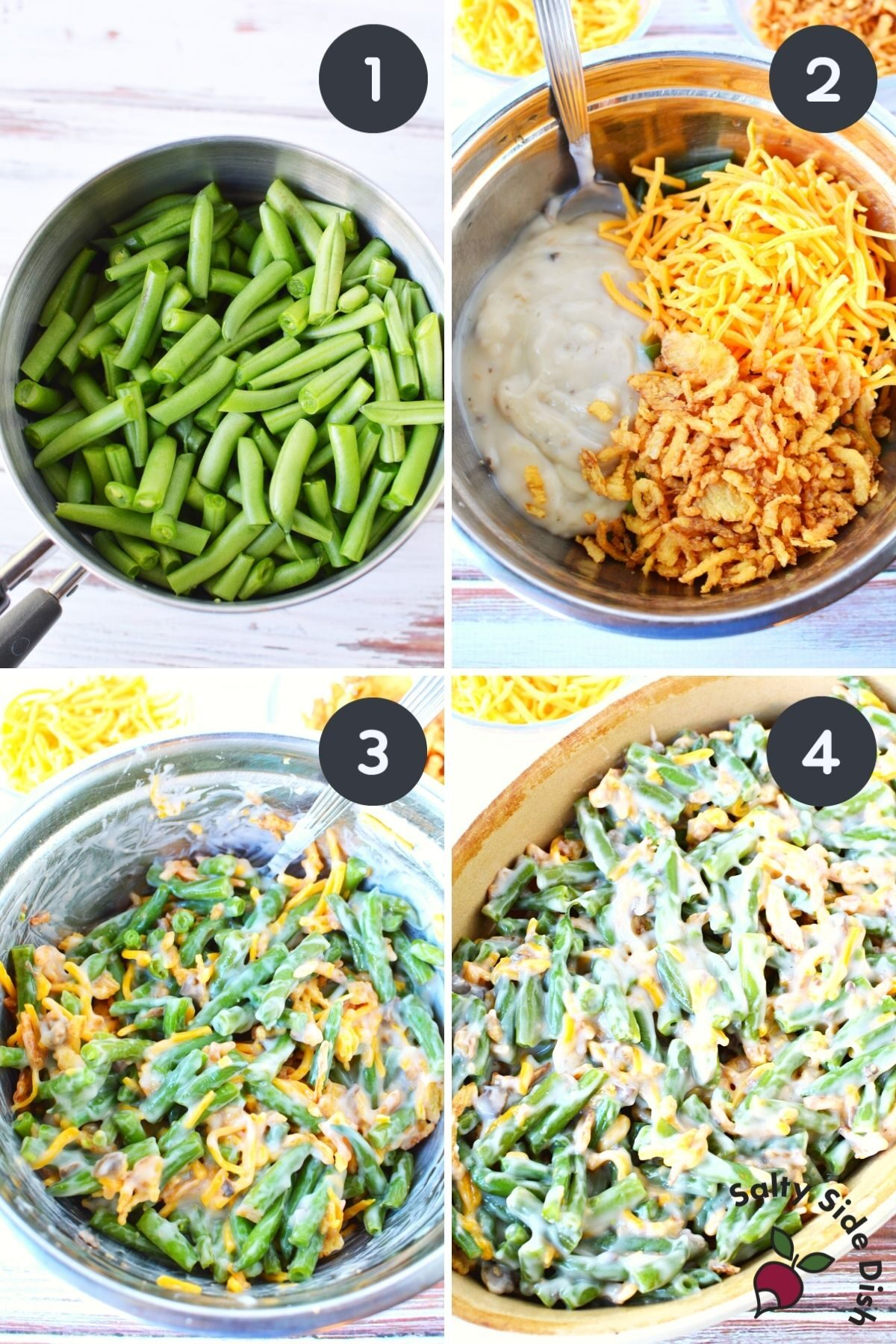 collage of how to make green bean casserole with soup.