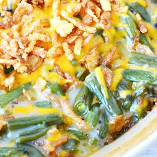 green bean casserole with crispy onions on top.