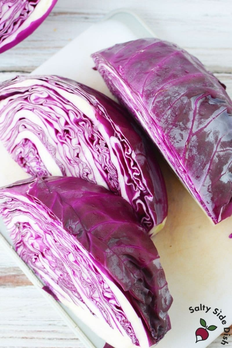 cut up red cabbage pieces