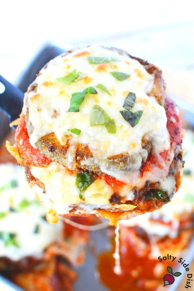 Layered Parmesan Eggplant casserole with Marinara Sauce and melty mozzarella cheese