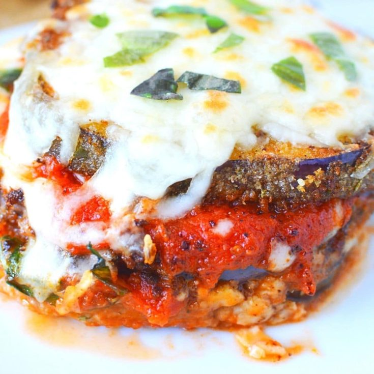 Layered Eggplant Parmesan - Cheesy!