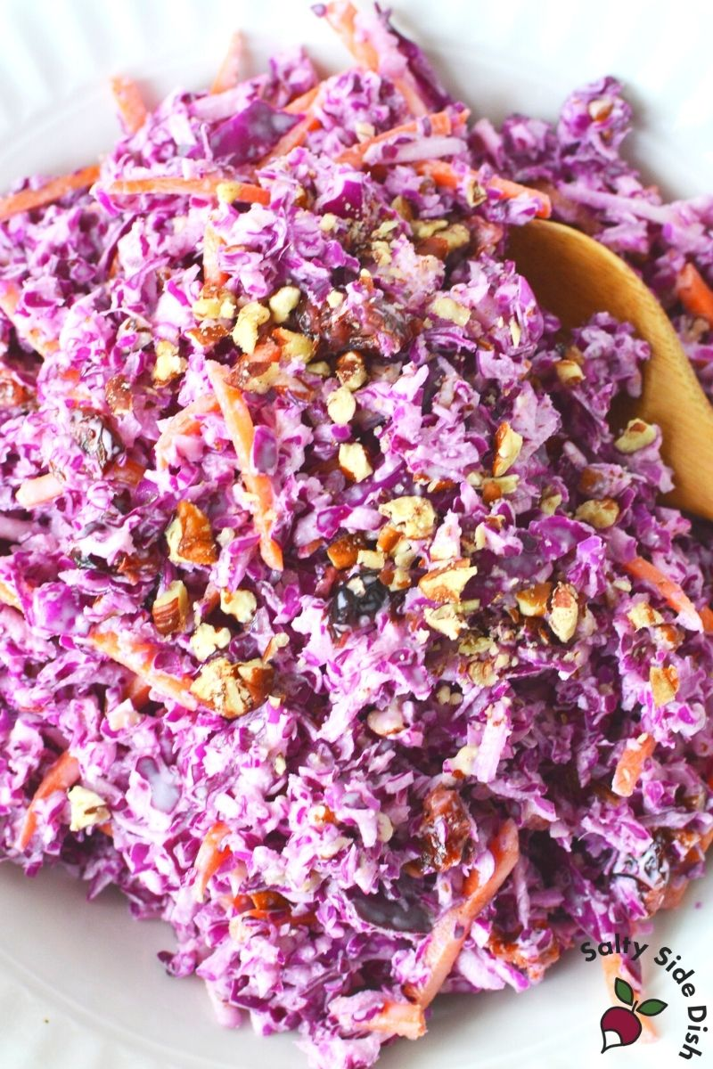 cut down red cabbage slaw with pecans or walnuts and slices of carrots