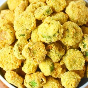 easy fried okra sitting in a bowl already fried