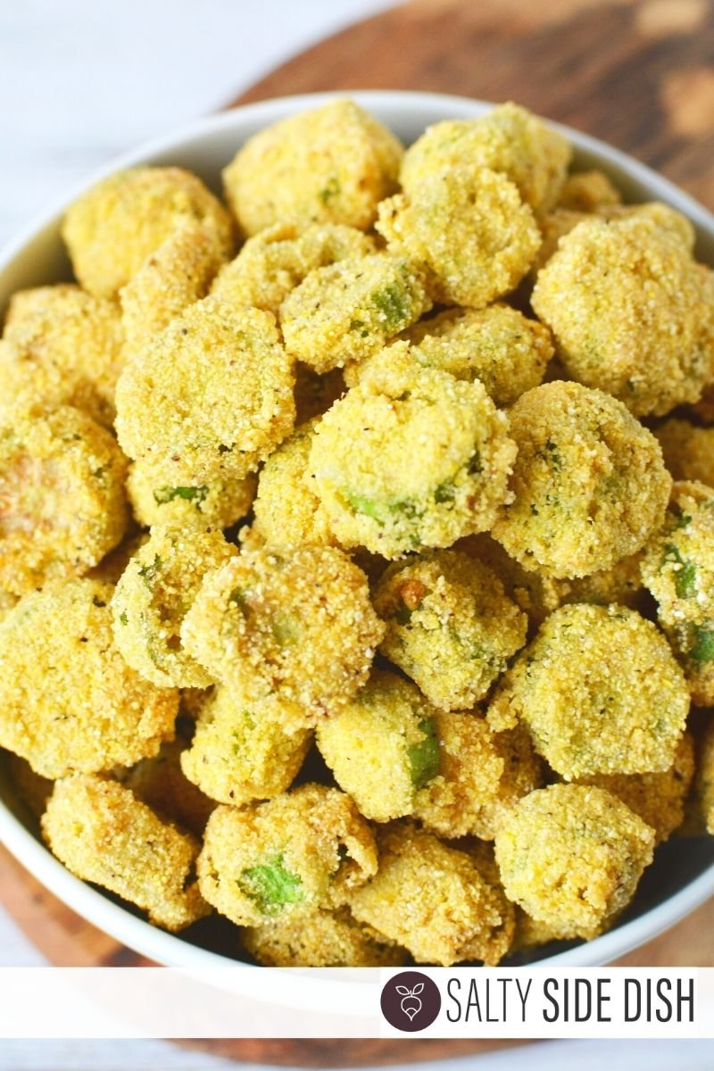 perfect bites of Deep Fried Okra for finger food appetizer or snack