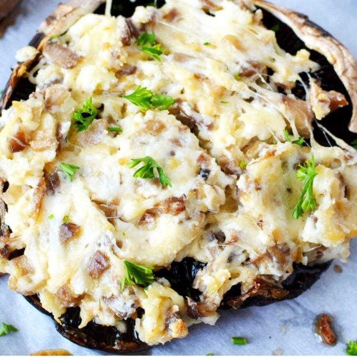 Cream Cheese Parmesan Stuffed Portobello Mushrooms