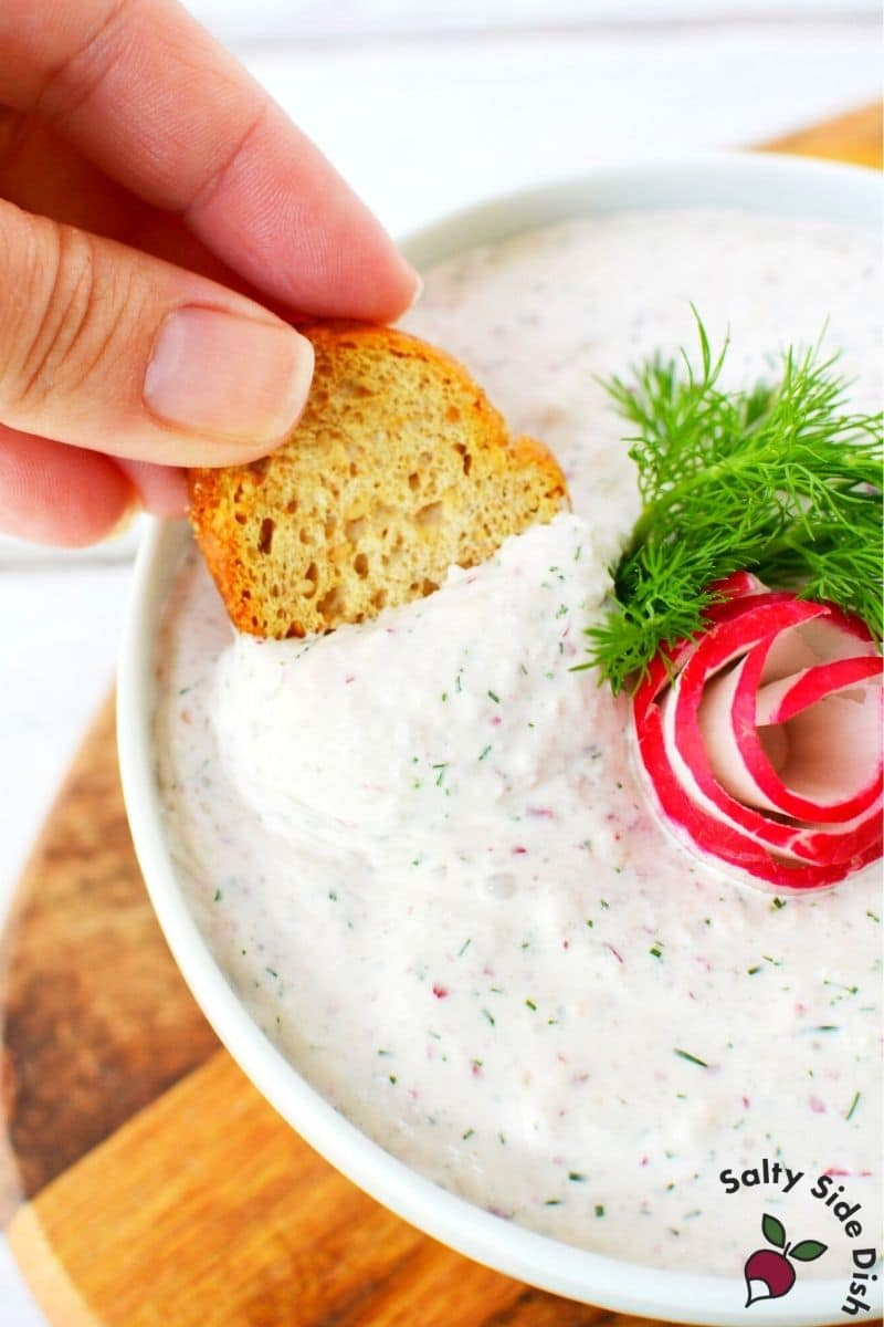 dip radish dip with melba toast