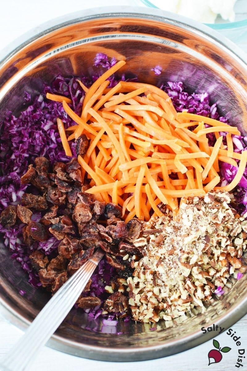 red cabbage slaw with shredded carrots