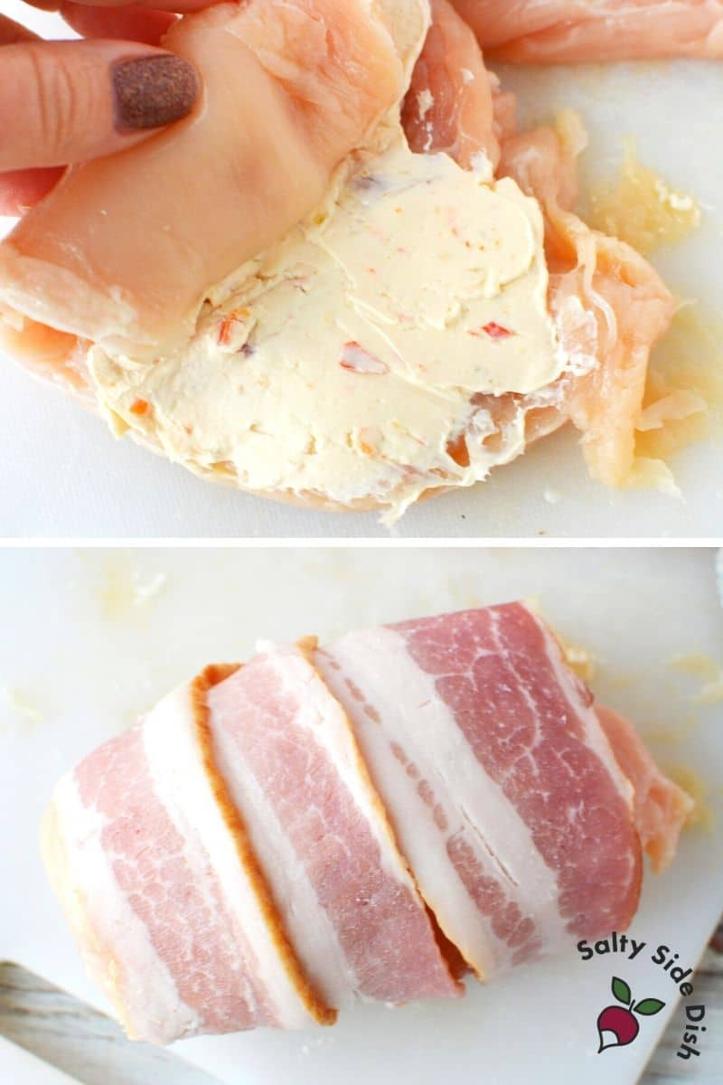 roll up chicken breasts and wrap tightly with raw bacon