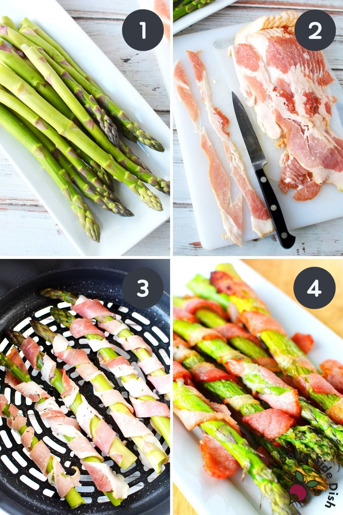 bacon wrapped air fried asparagus in ninja foodi.