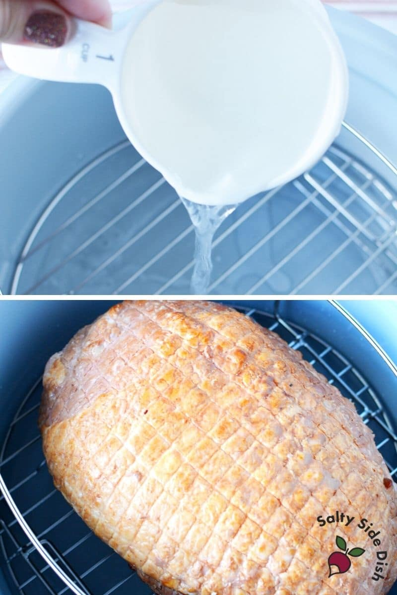 Cooking Ham in the Ninja Foodi, pour in water and place ham on the rack
