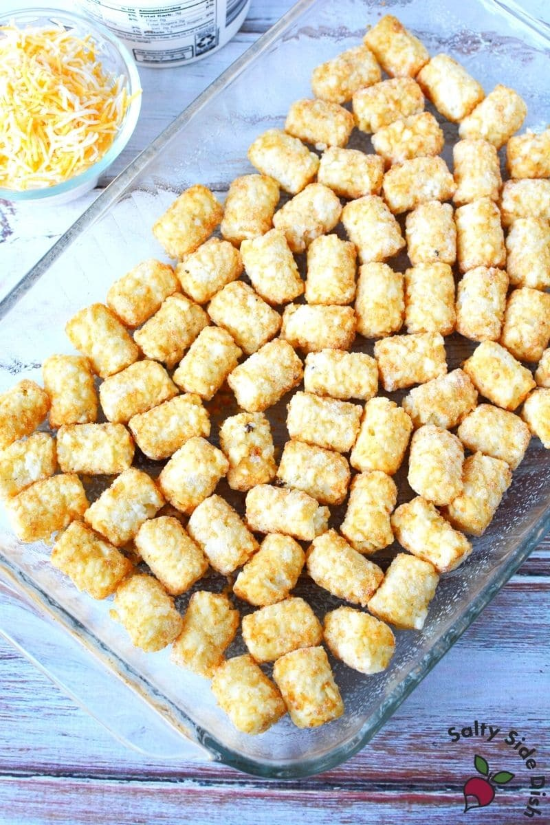 add layer of tater tots on the bottom of a casserole dish for a filling and simple casserole recipe