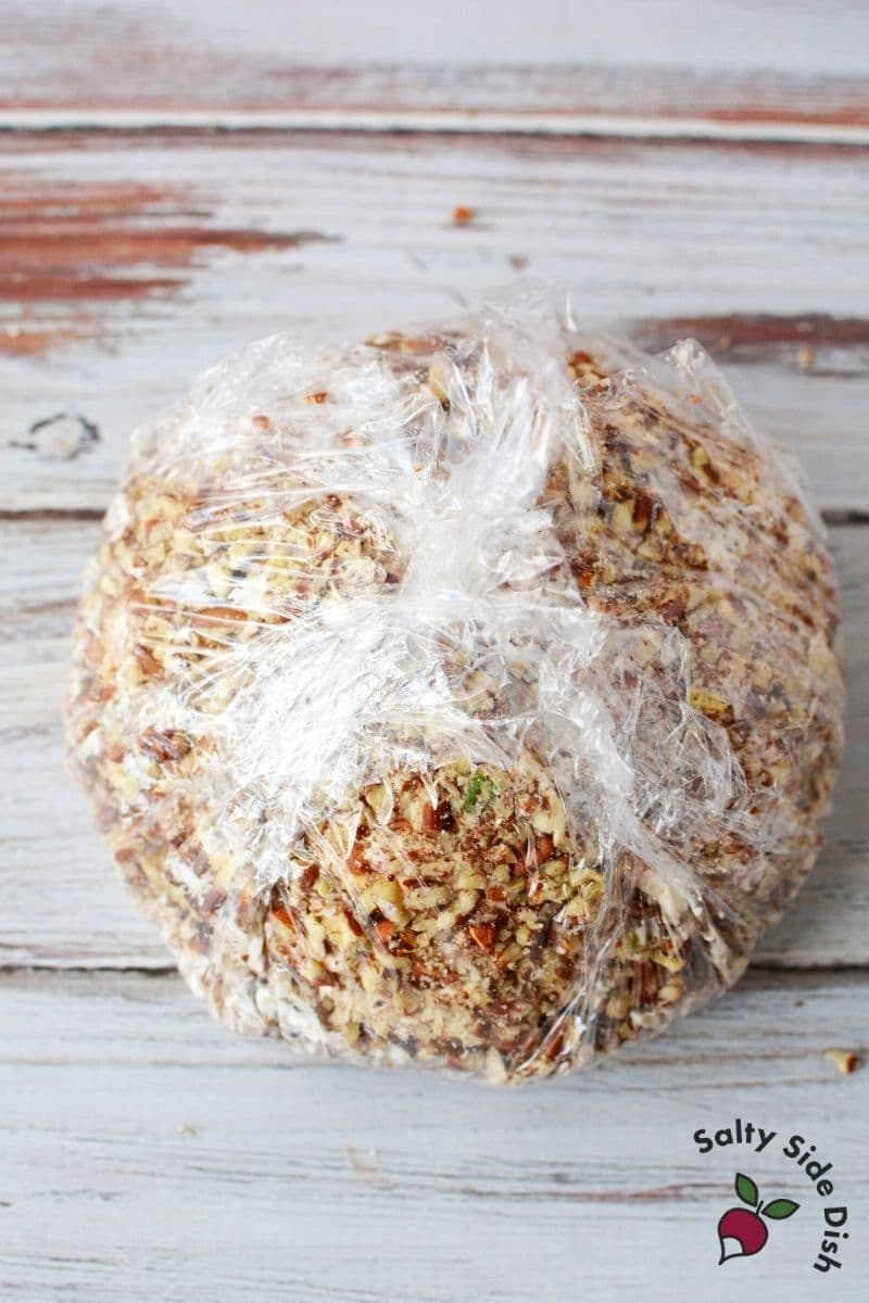 wrapped cheese ball in plastic wrap
