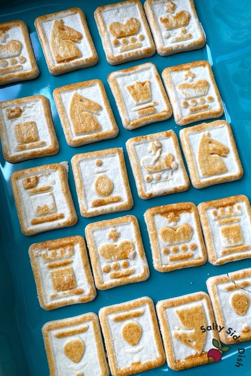 Chessman cookies lined into a casserole dish as a crust