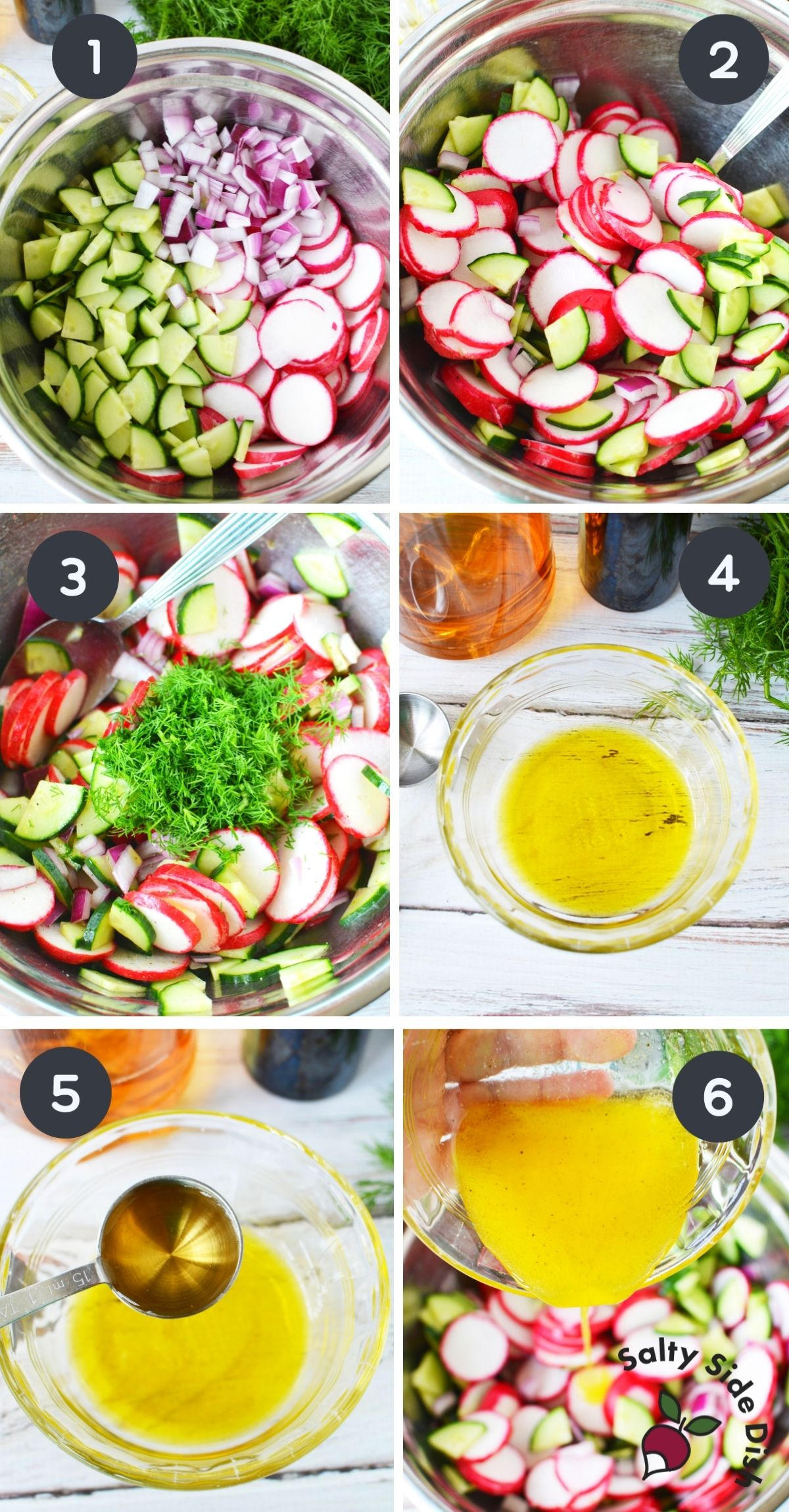 collage of cucumber radish salad being made with homemade dressing.