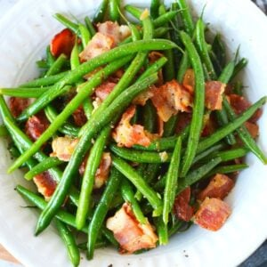 ninja foodi pressure cooker with green beans and bacon