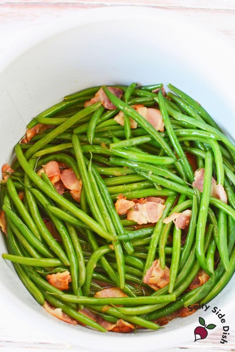 Ninja Foodi Green Beans and Bacon already cooked in the inner pot of the ninja foodi pressure cooker