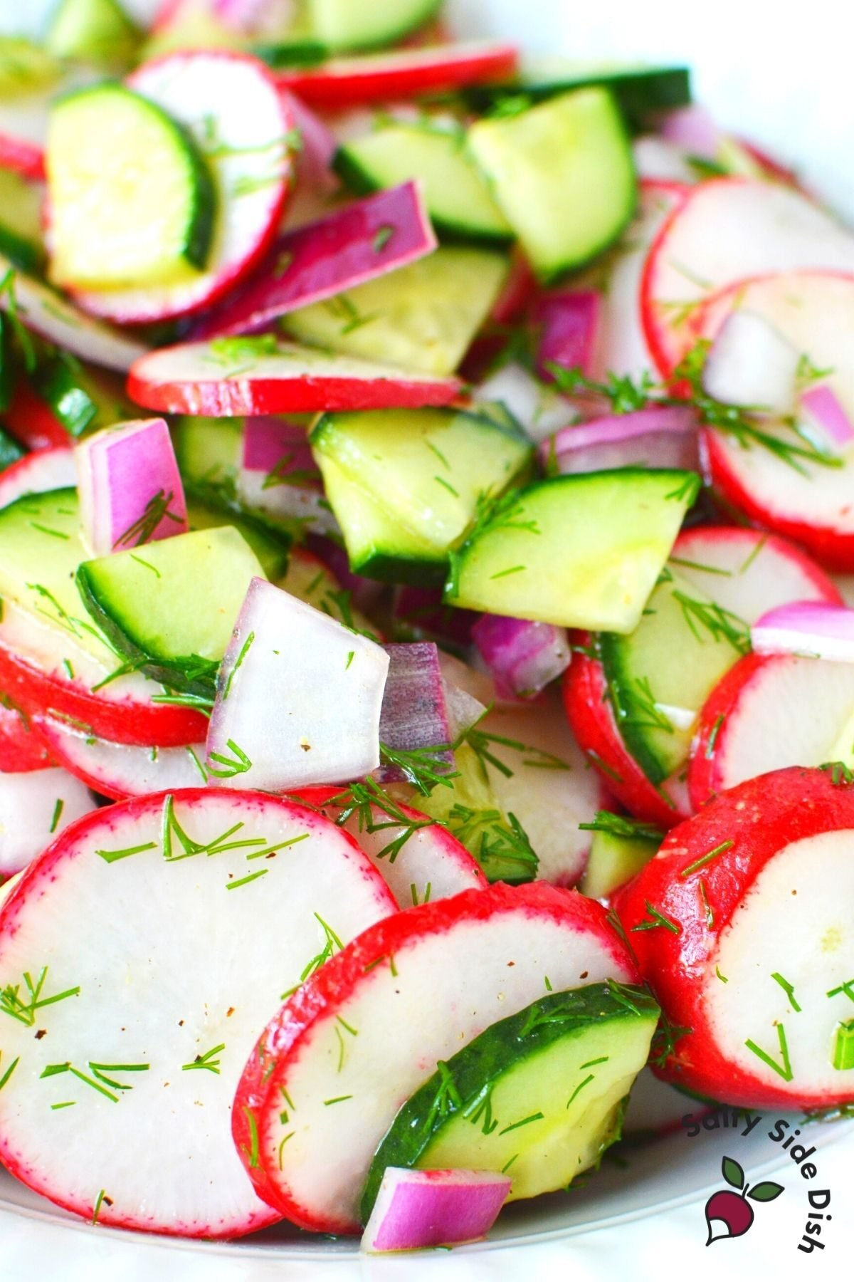 slices of radishes and quartered cucumbers in a bowl.