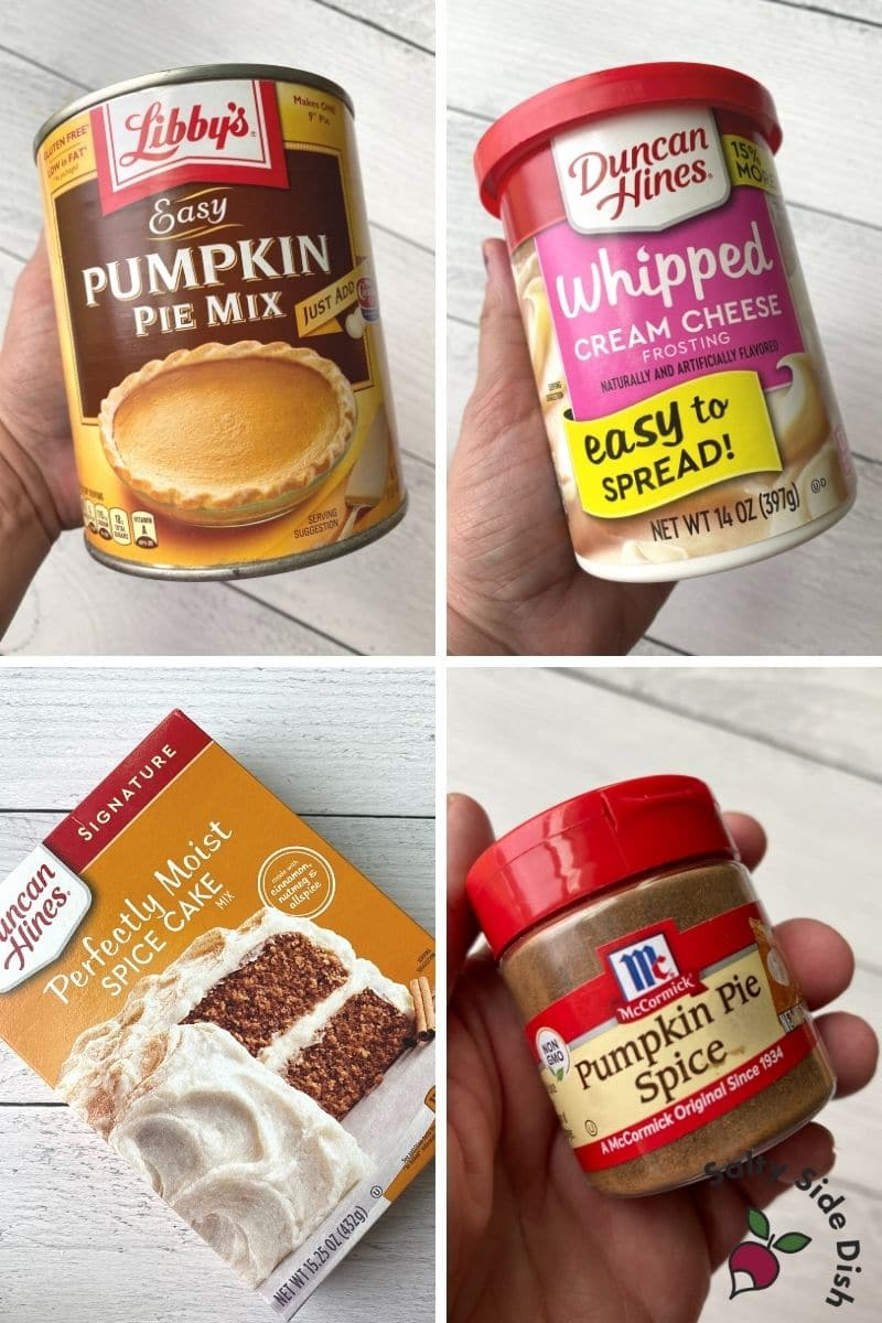 pumpkin pie dump cake ingredients listed in a collage image