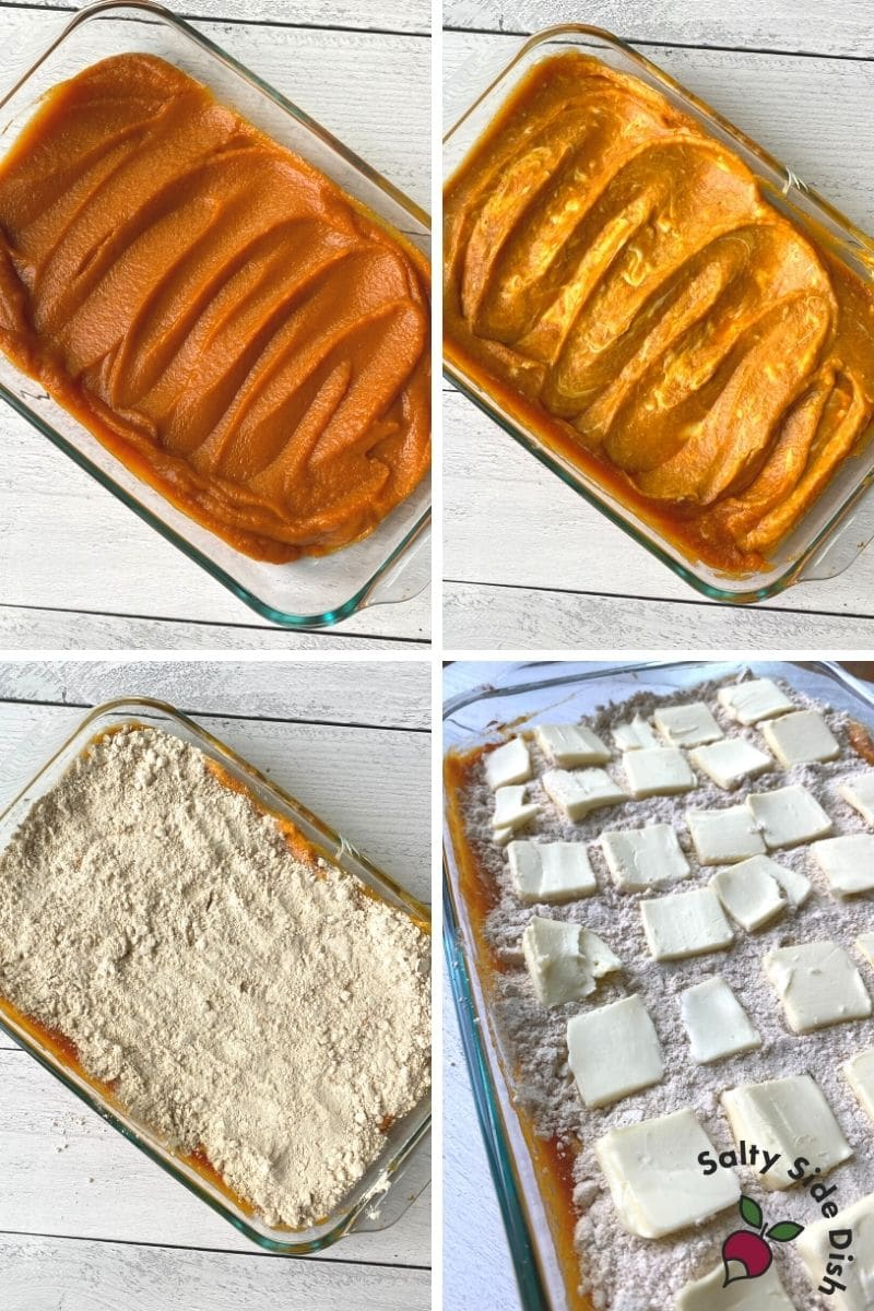 collage of pumpkin pie mix, cream cheese frosting, cake mix and then butter pats all over casserole pan