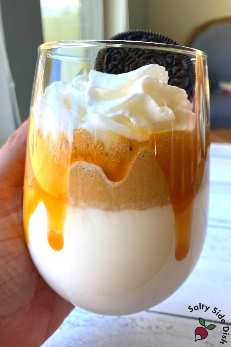 Easy Whipped Coffee Recipe ready to drink with loads of sugar