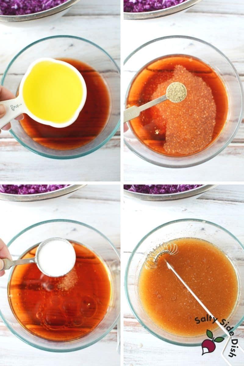 making red wine vinegar dressing for cabbage salad