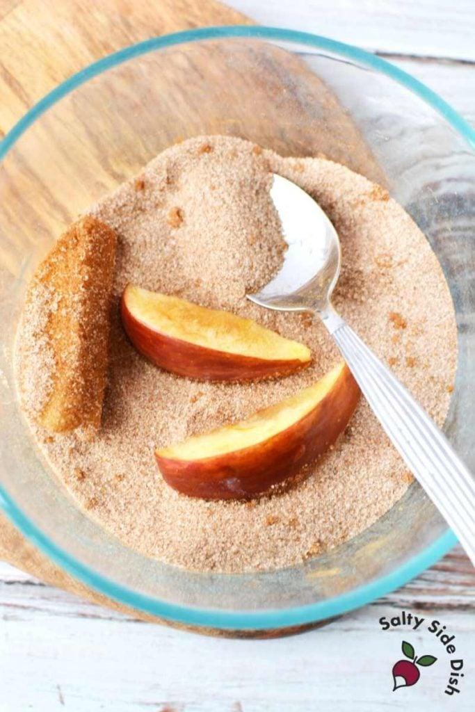 cinnamon and sugar bowl to coat apples