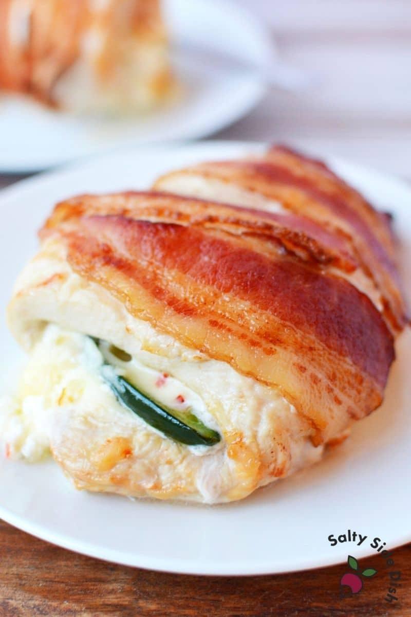 stuffed jalapeno chicken breast on  plate