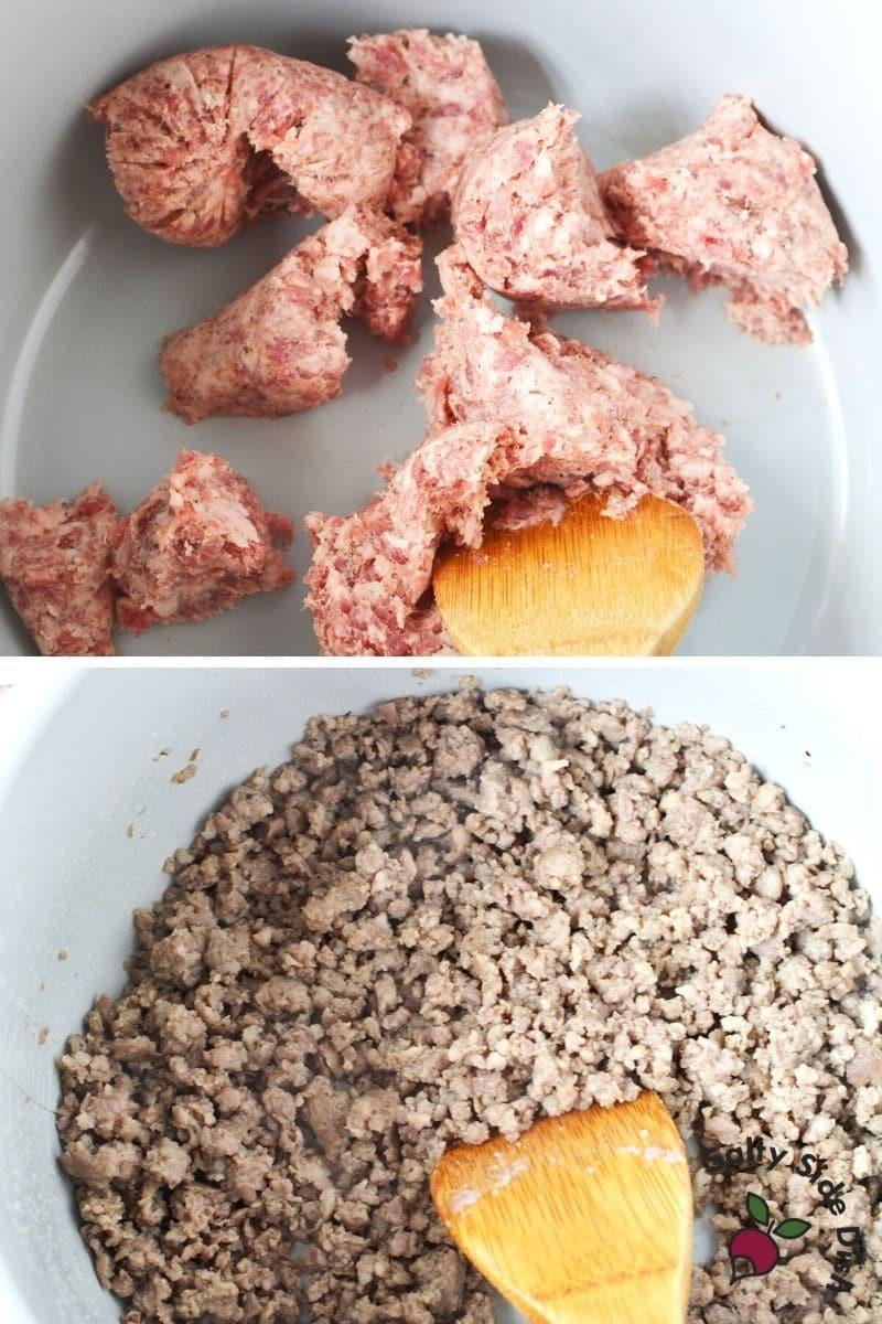 cooking ground sausage into the ninja foodi