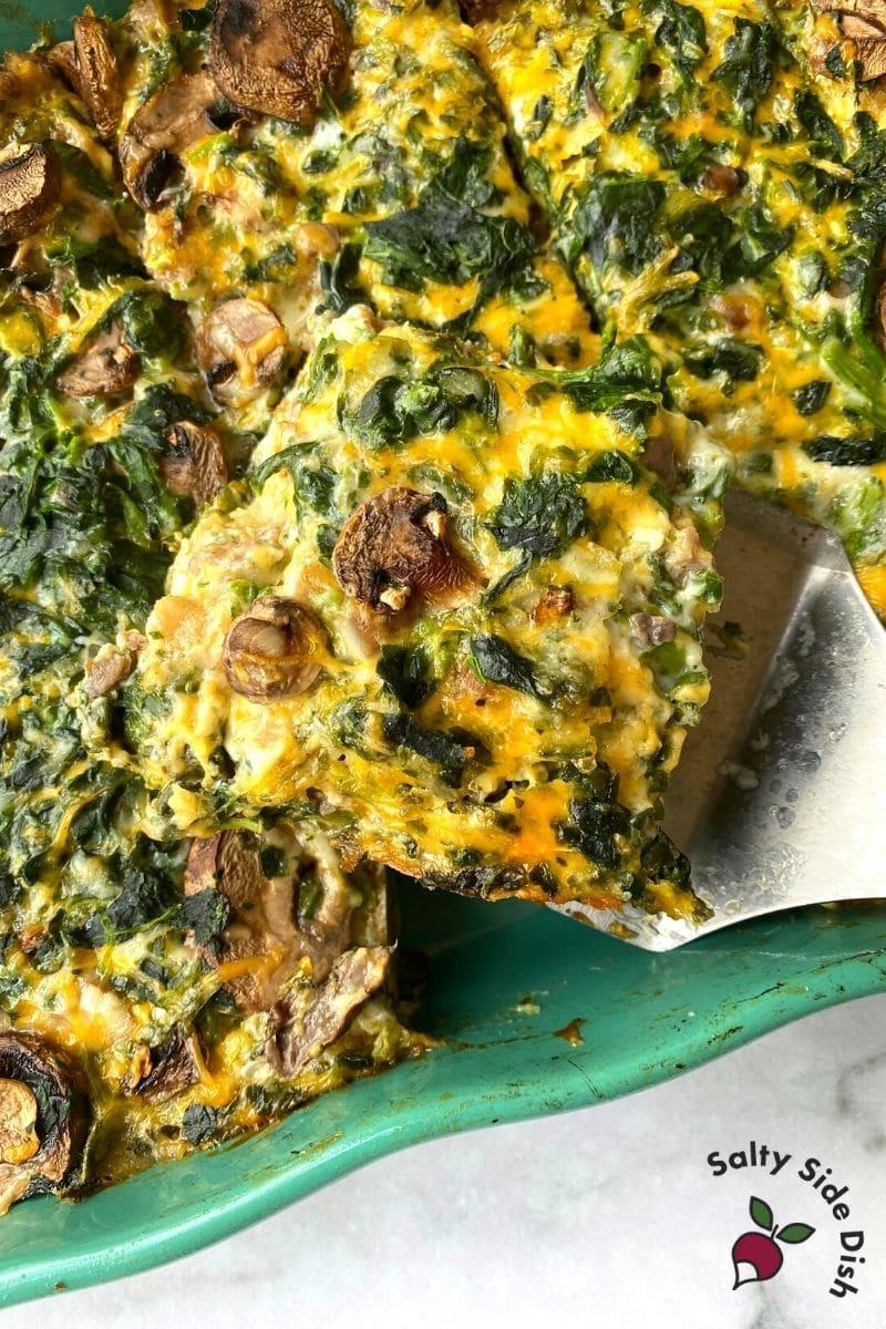 slice of spinach mushroom egg bake