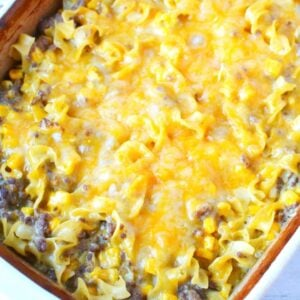 cheeseburger noodles sitting in a casserole dish