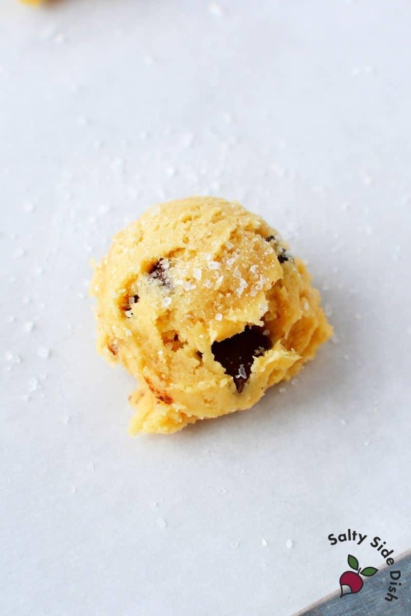 sea salt sprinkled on cookie dough