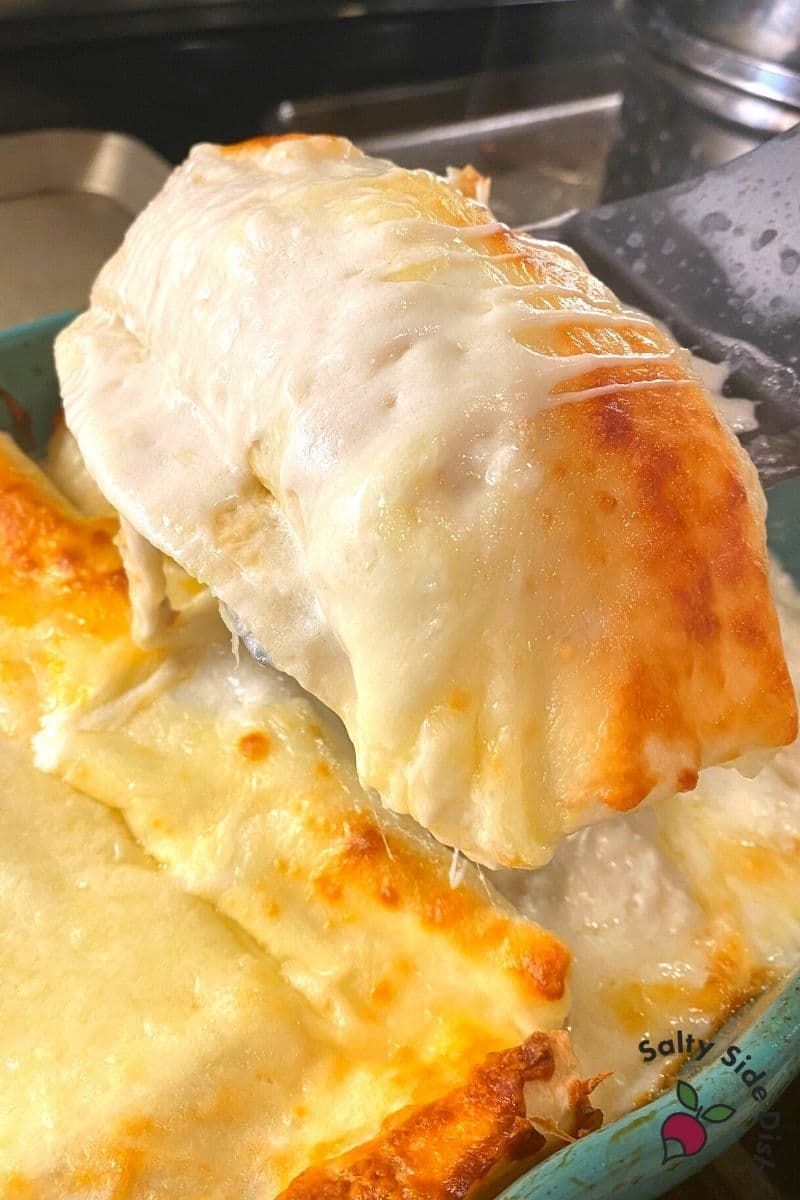 incredibly cheese chicken enchiladas with white cream sauce