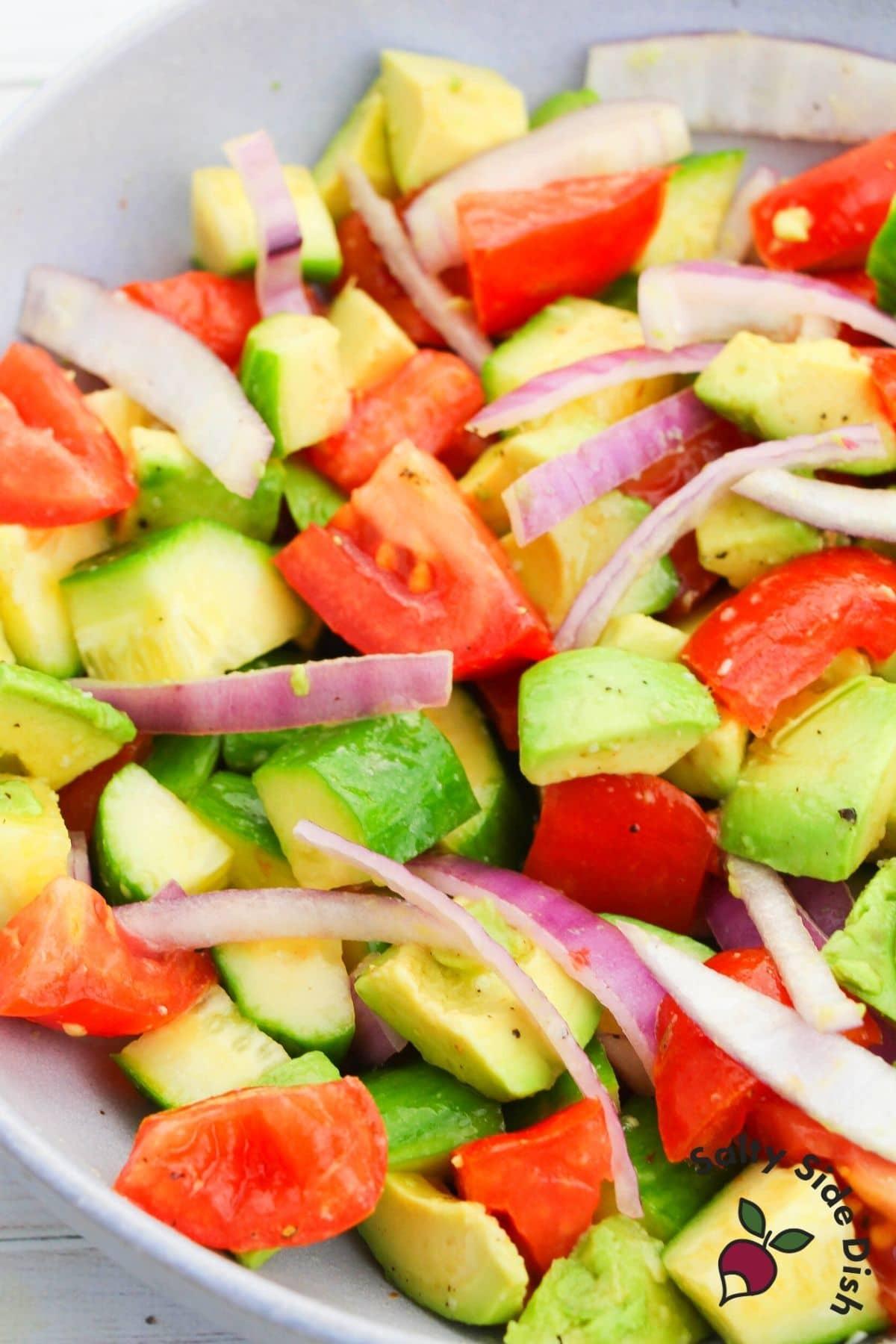 avocado salad recipe in a bowl